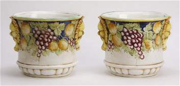 2 Italian hand painted ceramic cachepots 15w