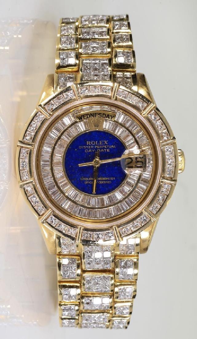 Diamond, lapis, & 18k Rolex President 18038