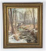 Hal Robinson signed Oc of snowy forest clearing