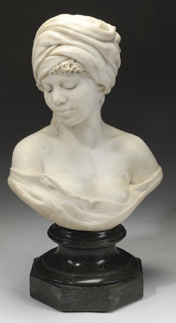 Rudolph Thiele marble bust of a Nubian beauty, 19th c