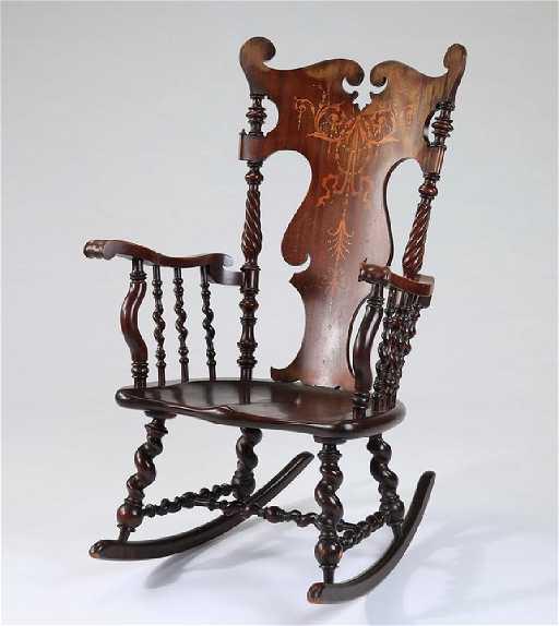 - American Barley Twist Rocking Chair With Inlay, 44