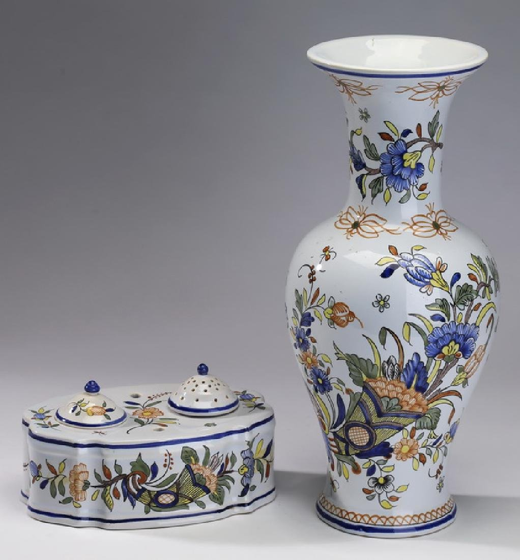 2 French Hand Painted Rouen Faience 14h
