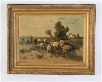 Henry Schouten signed O/c of sheep in a meadow