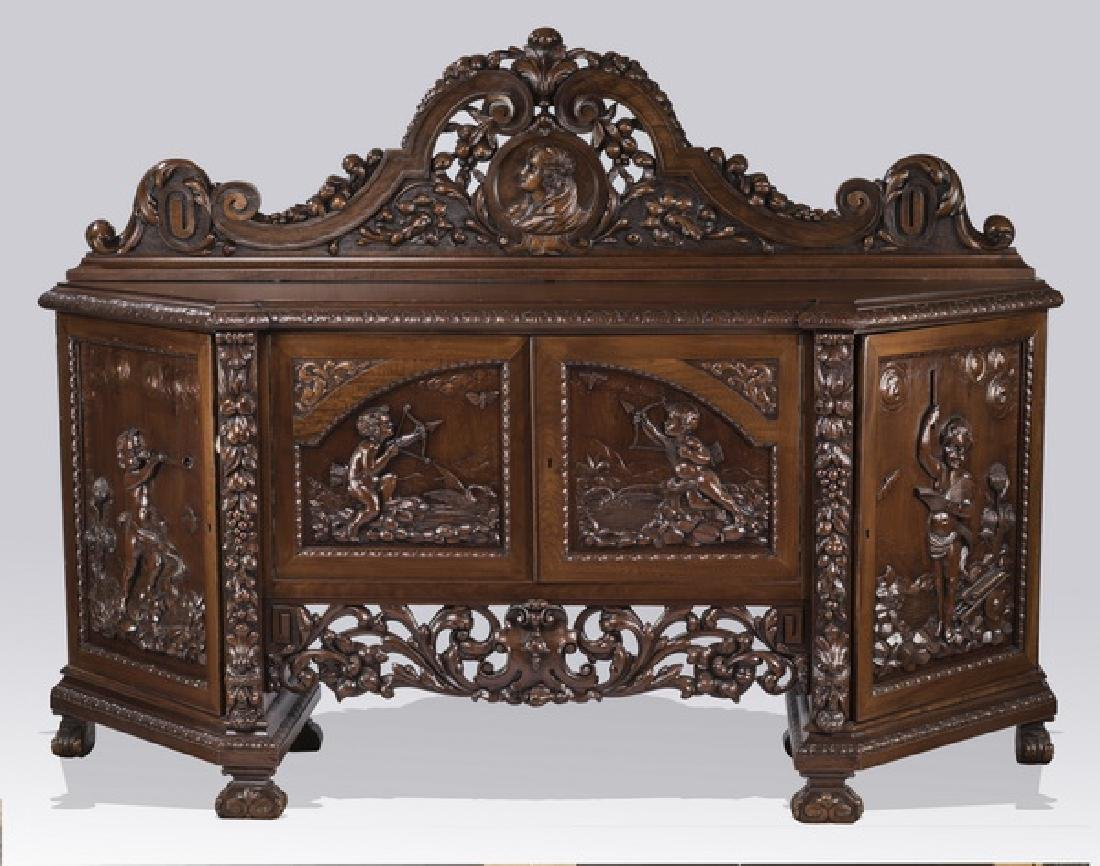 """19th c. Italian carved walnut sideboard, 83""""w"""