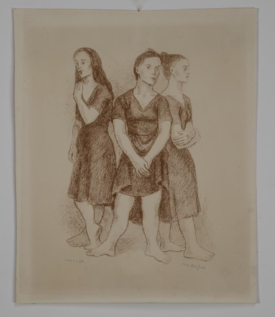 Moses Soyer signed lithograph of three dancers