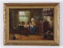Jozef Israels attrd Dutch O/c interior scene, 19th c.