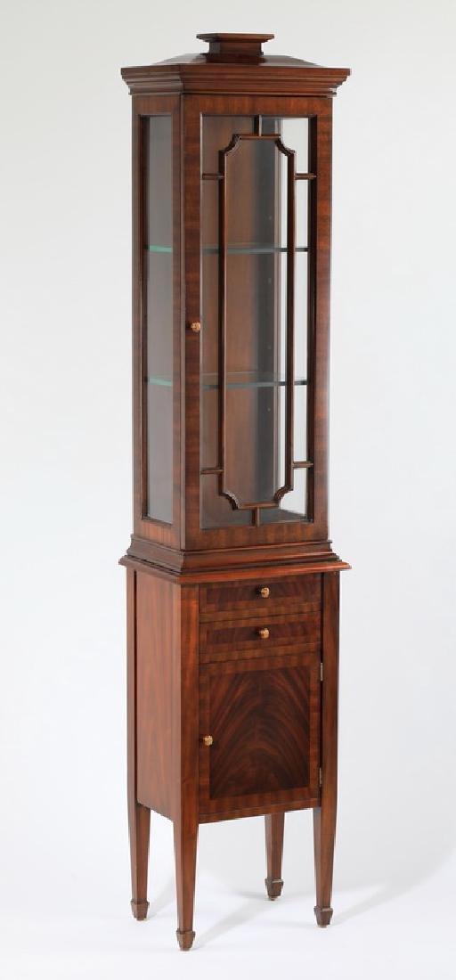 """Maitland-Smith narrow mahogany vitrine, 71""""h"""