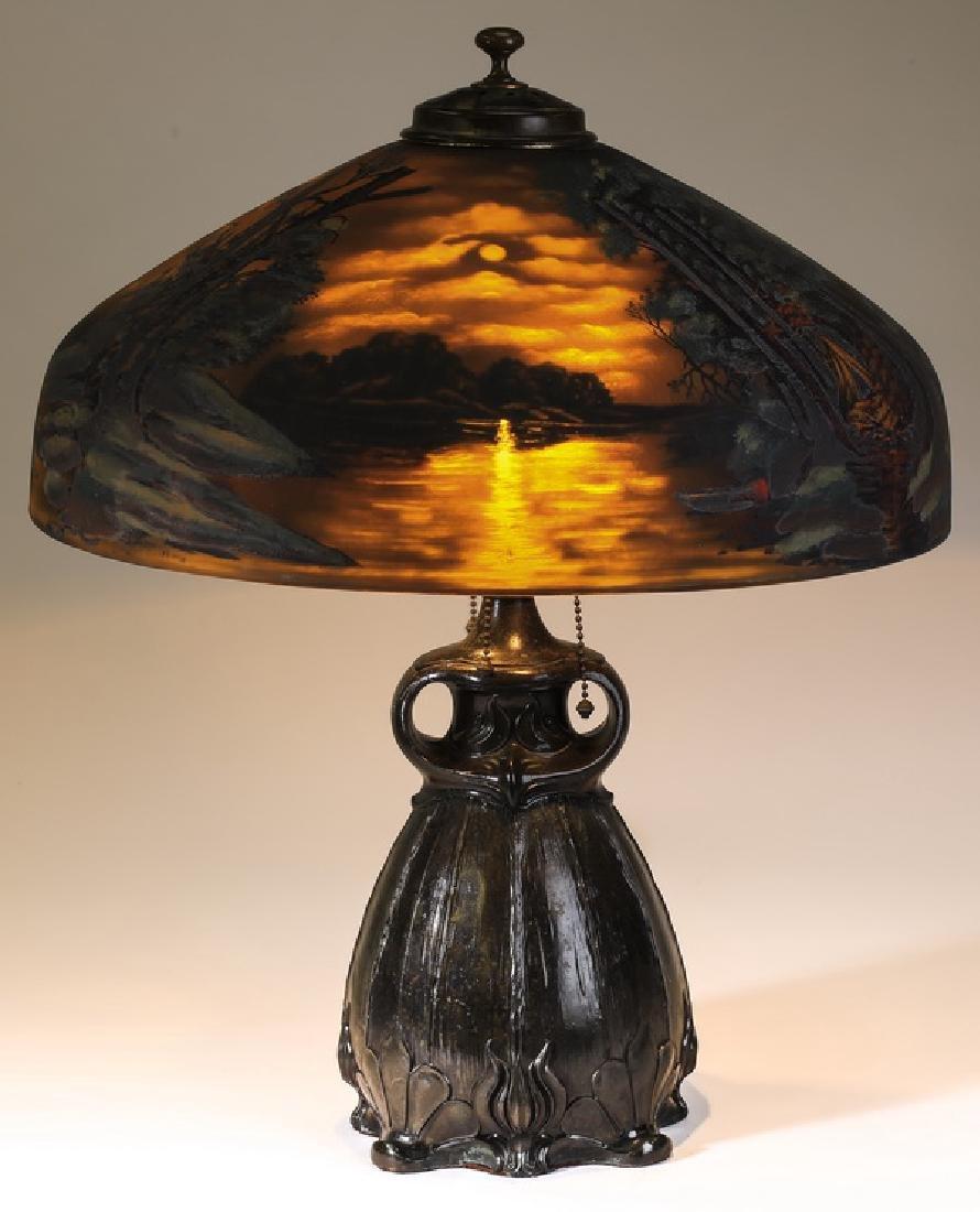 Pairpoint reverse painted moonlit landscape table lamp
