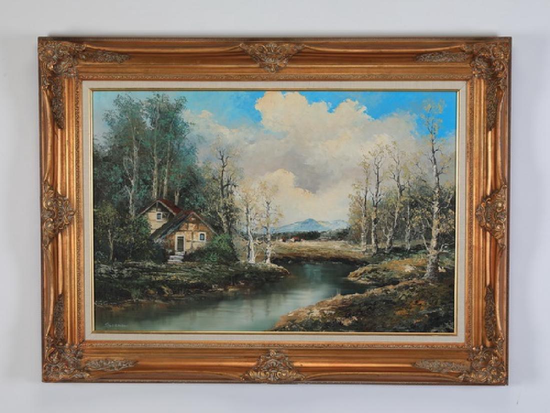 Oscar Sormani signed O/c of lake house w/ birch trees