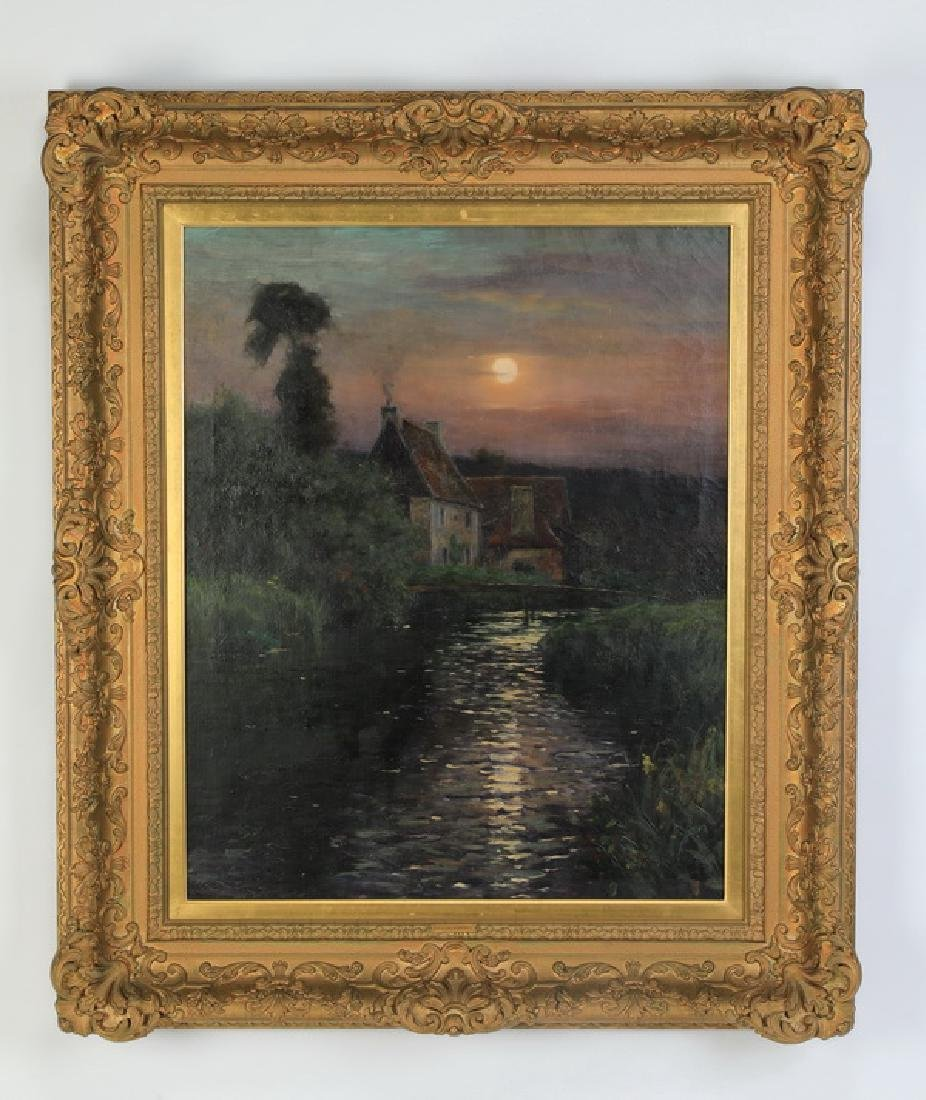 Louis Aston Knight signed O/c of moonlit lake w/house