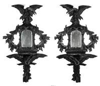 2 Aesthetic Movement mirrored wall brackets 56h