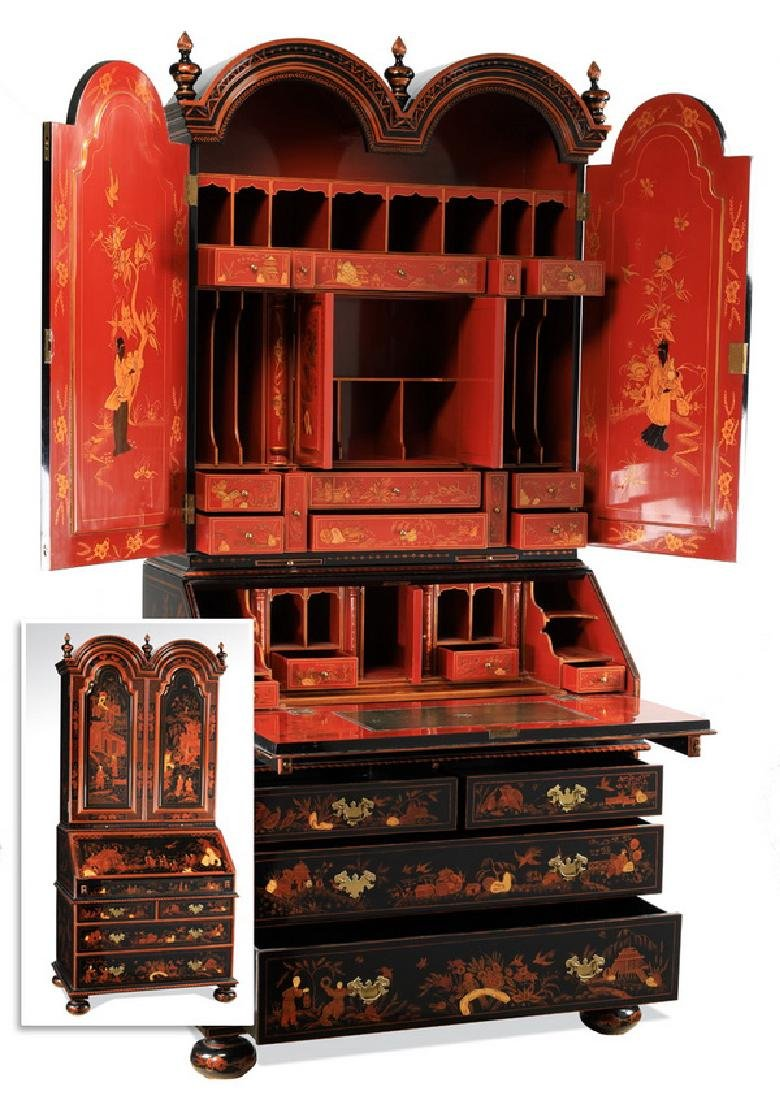"""Maitland-Smith lacquered Chinoiserie secretary, 86""""h"""