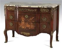 Early 20th c Italian inlaid marble top commode