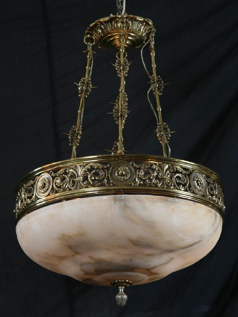 20th c bronze and alabaster chandelier
