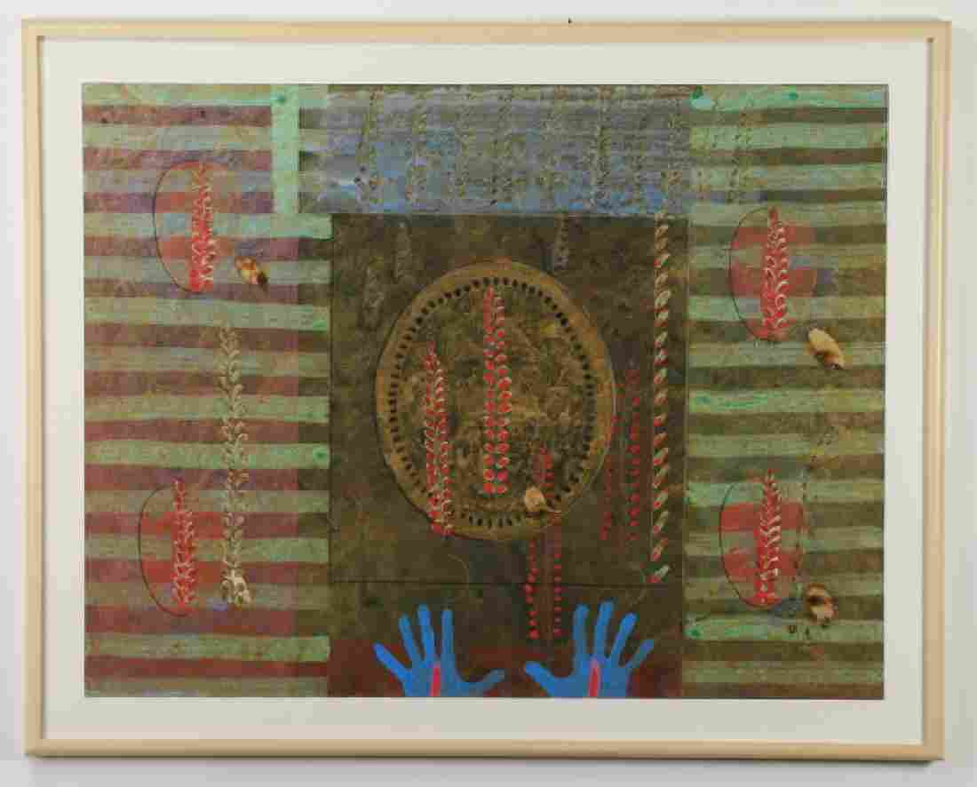 """Contemporary abstract lithograph in colors, 57""""w"""