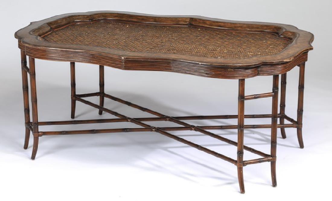 "Maitland-Smith rattan and walnut coffee table, 56""w"