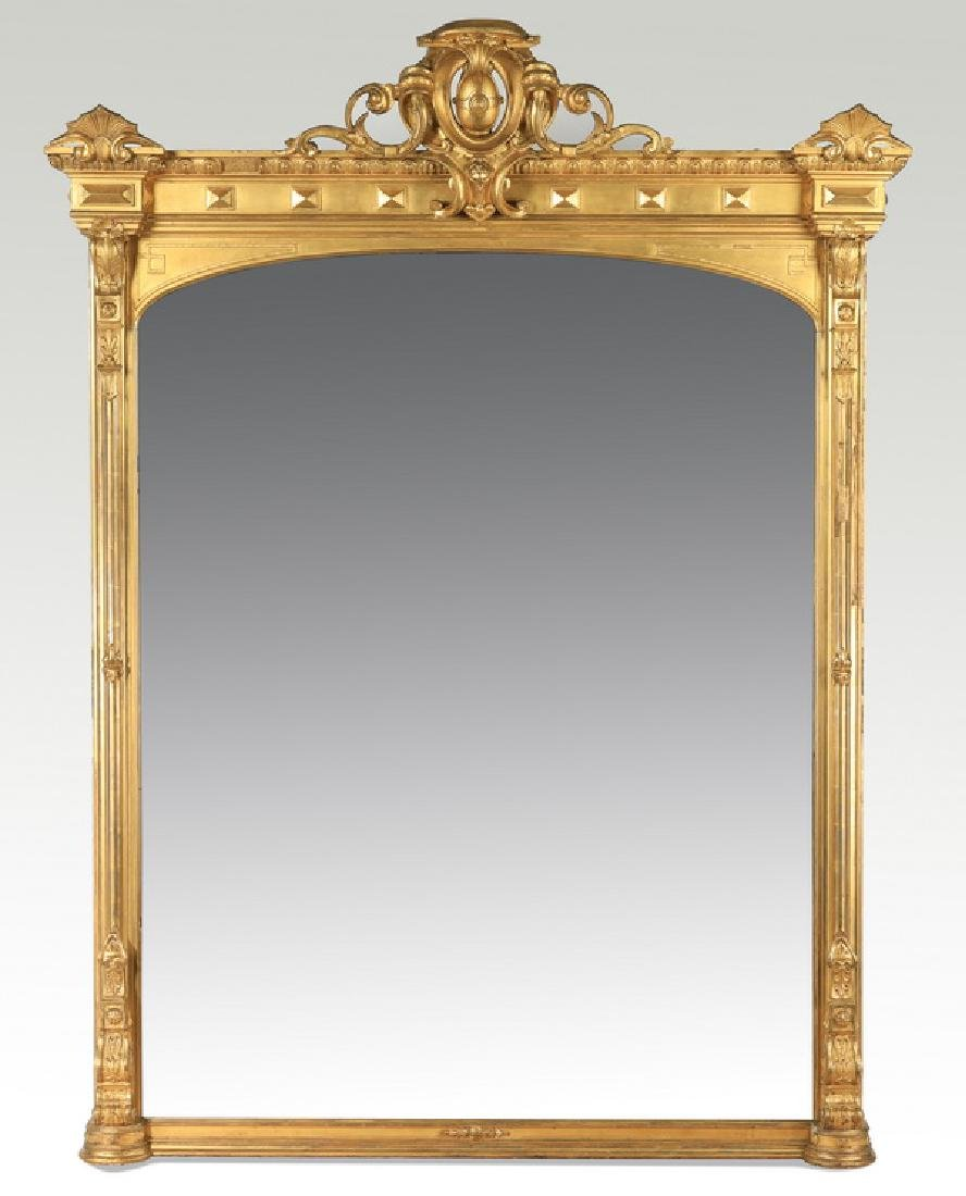 "19th c. monumental gilt wood mirror, 92""h"