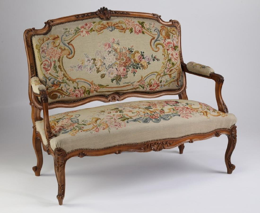 19th c. French settee in gros point and petit point