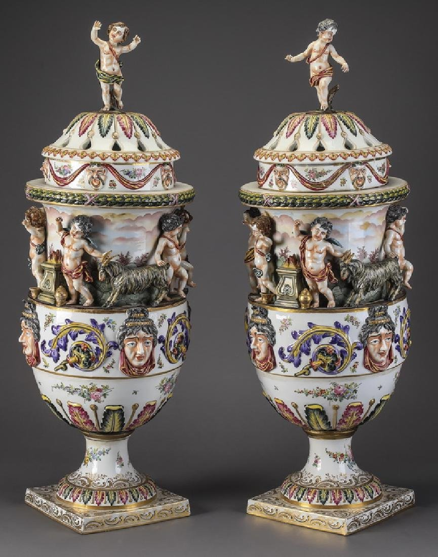 "(2) 19th c. Capodimonte lidded urns, marked, 31""h"