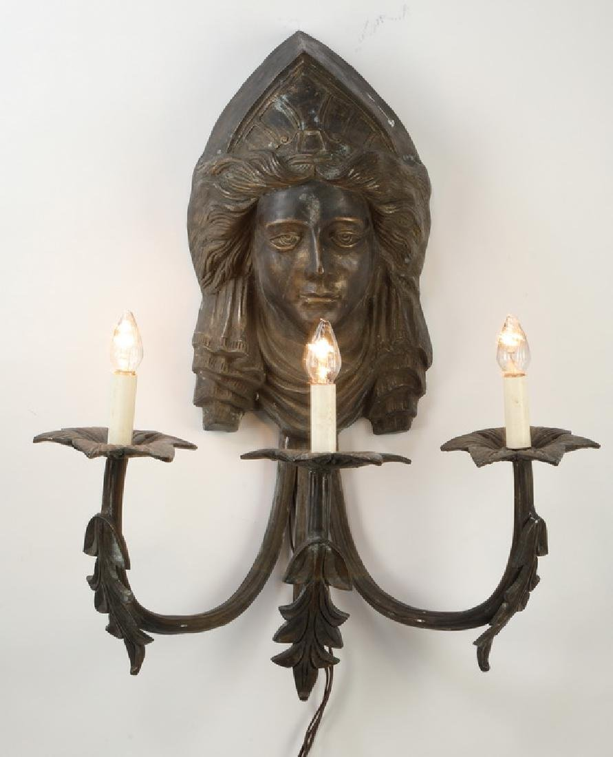 Continental bronze maiden mask 3-light sconce