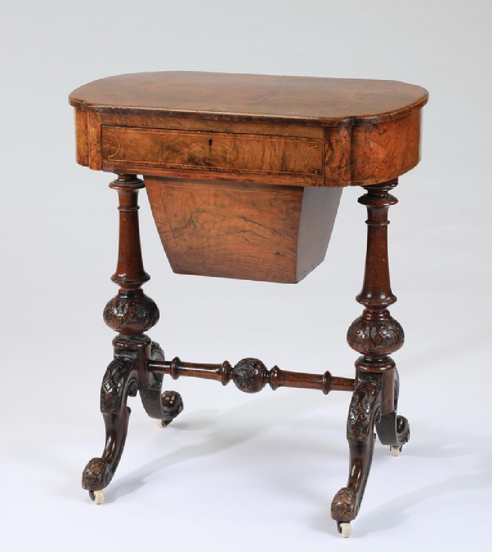 "Victorian burl veneer inlaid sewing table, 27""h"
