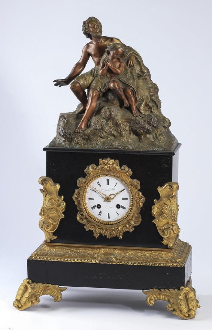 French allegorical bronze mounted marble mantel clock