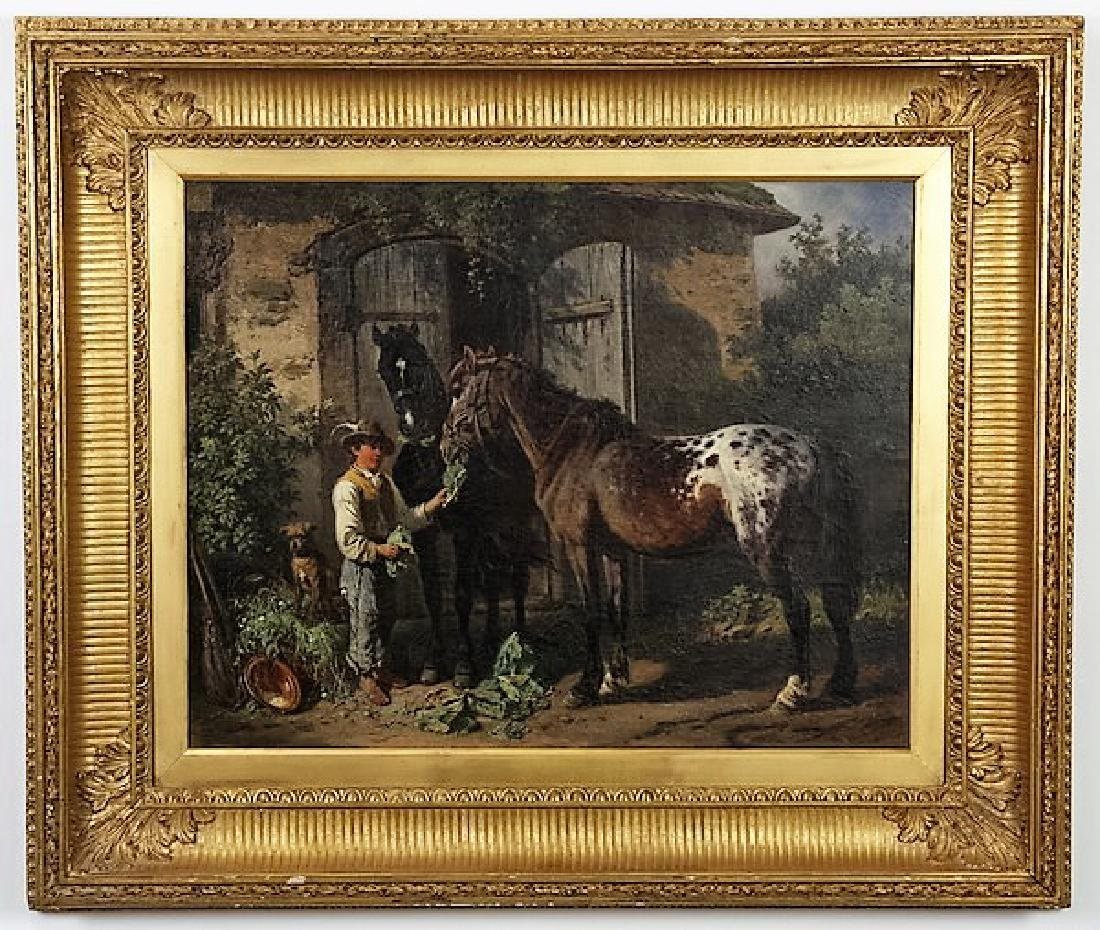 Adolf Van Der Venne signed O/c, 'Feeding the Horses'