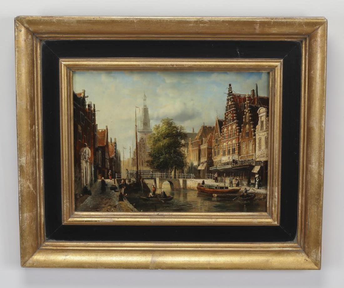 In the Manner of J.F Spohler, O/panel of Dutch canal
