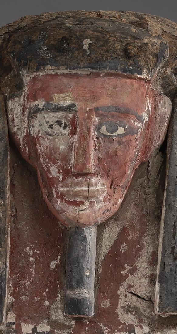 Ancient Egyptian carved wood mummy mask - 2