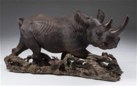 """Mopho Gonde carved leadwood rhino sculpture, 41""""w"""