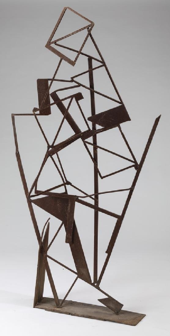 Contemporary Cubist-style metal sculpture, signed