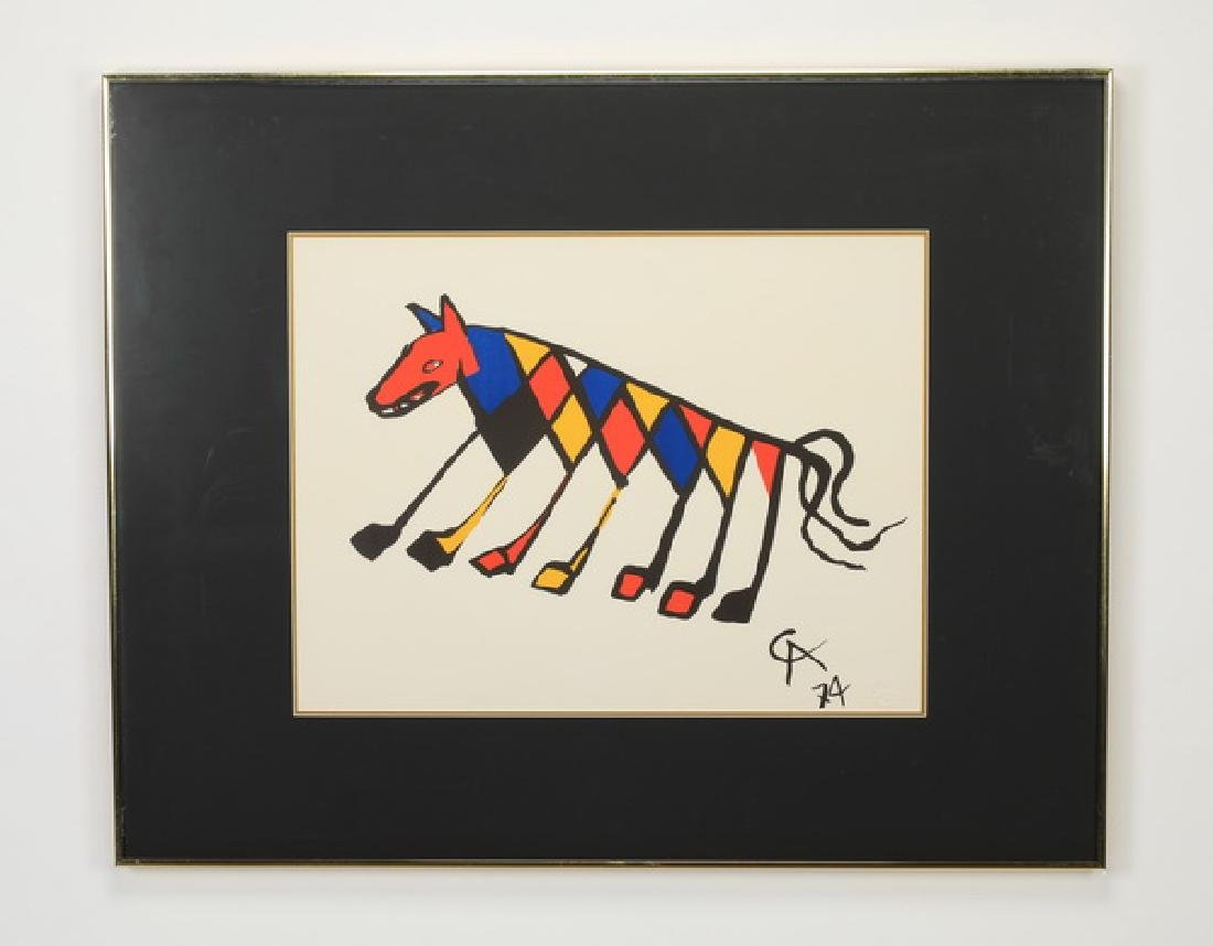 Alexander Calder 'Beastie' lithograph, dry stamped