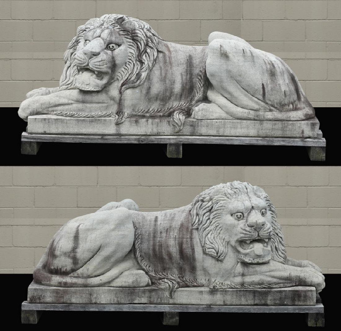 "(2) Hand carved stone entryway lions, 72""l"