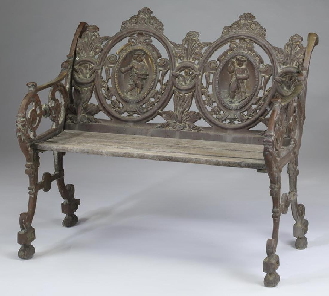 Wrought iron and wood Victorian style garden bench