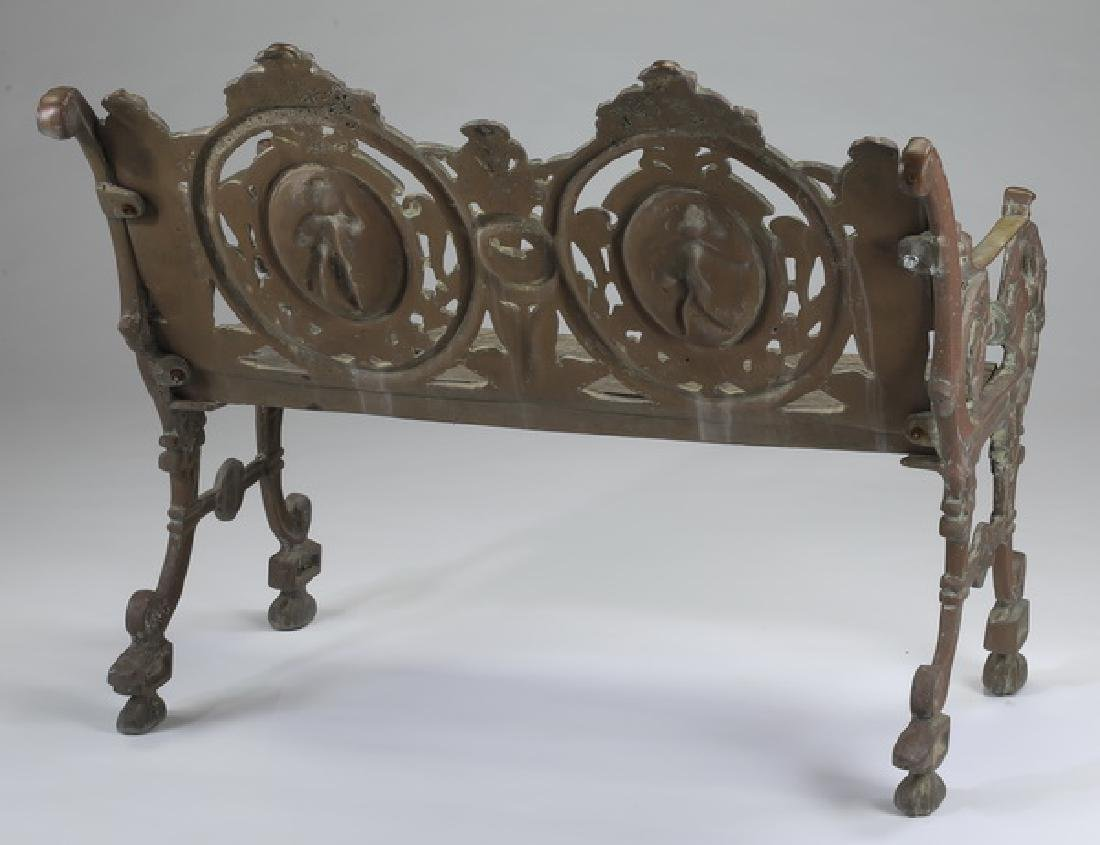 Wrought iron and wood Victorian style garden bench - 3