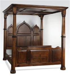 Gothic Revival queen size oak canopy bedstead, marked