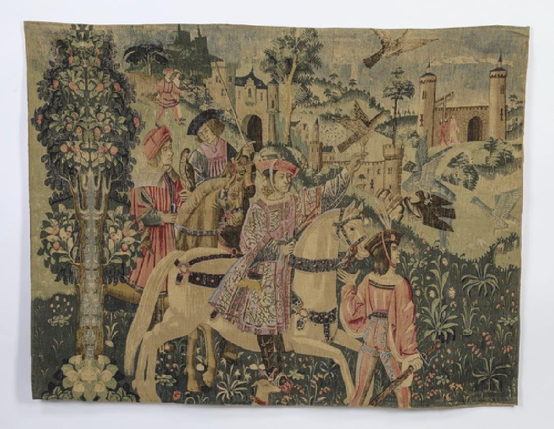 Vintage French pictorial wood block-printed tapestry