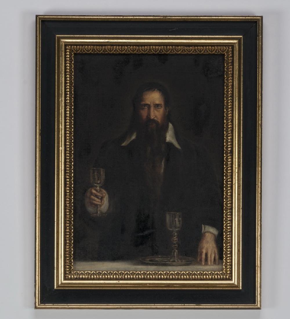 Continental School O/c, bearded man, 19th c.