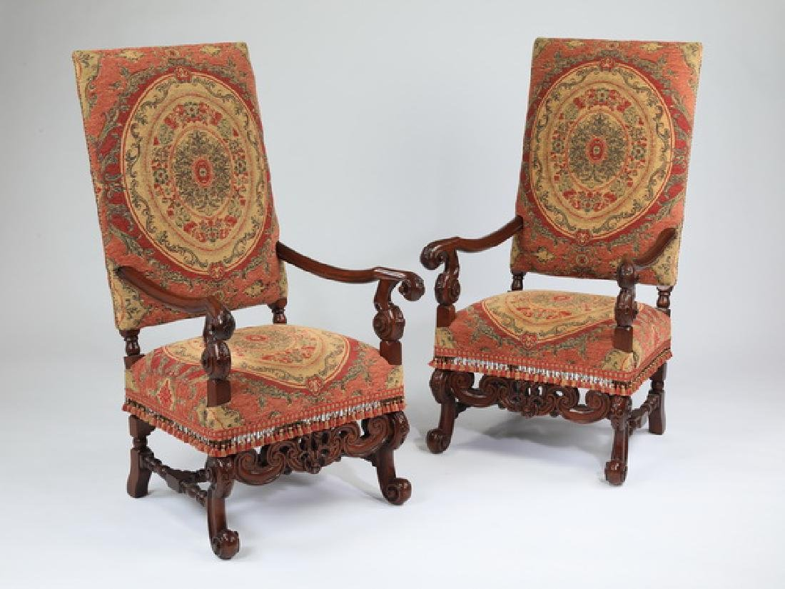"""(2) Louis XIV style carved walnut fauteuils, 51""""h"""