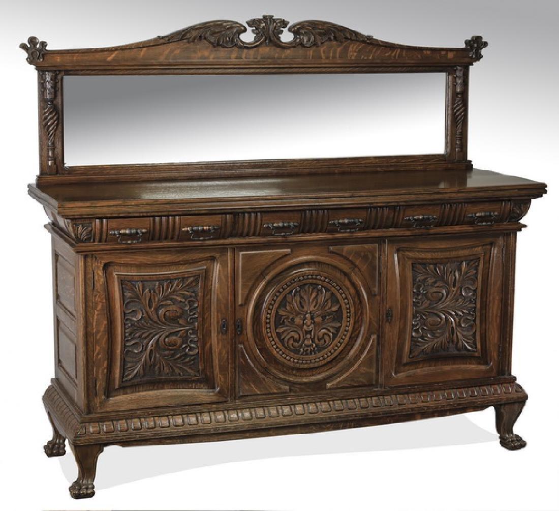 Early 20th c. American carved oak buffet w/ mirror