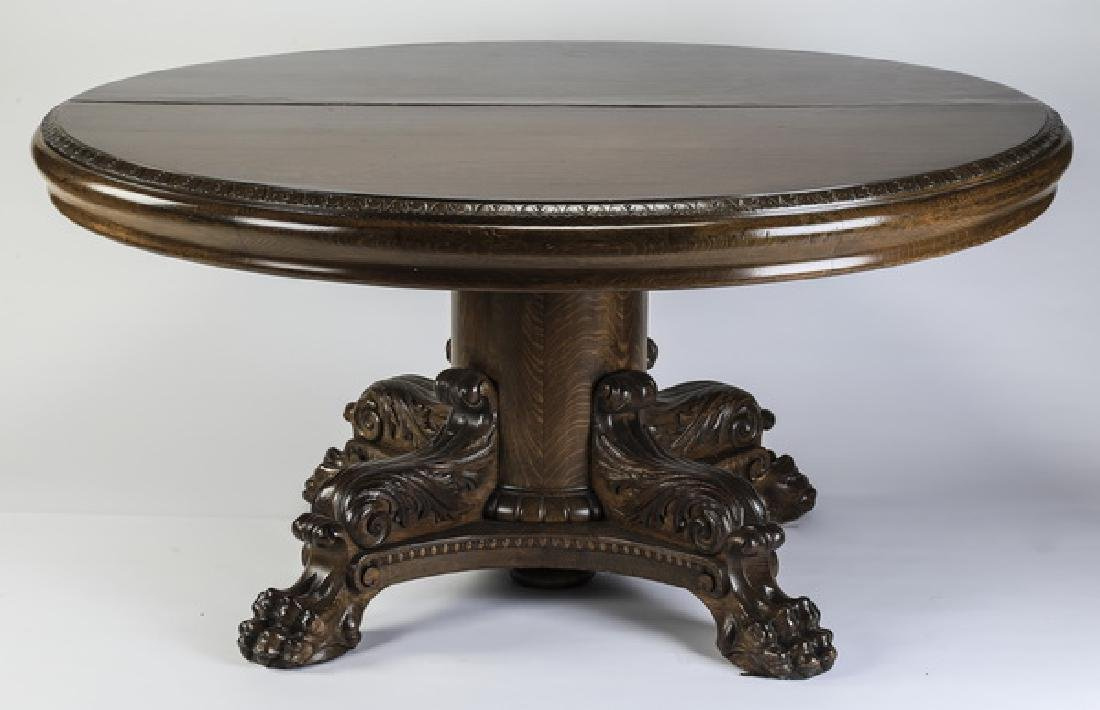 Early 20th c. American carved oak table