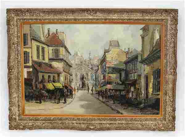 Early 20th c. Dutch O/c street scene, signed