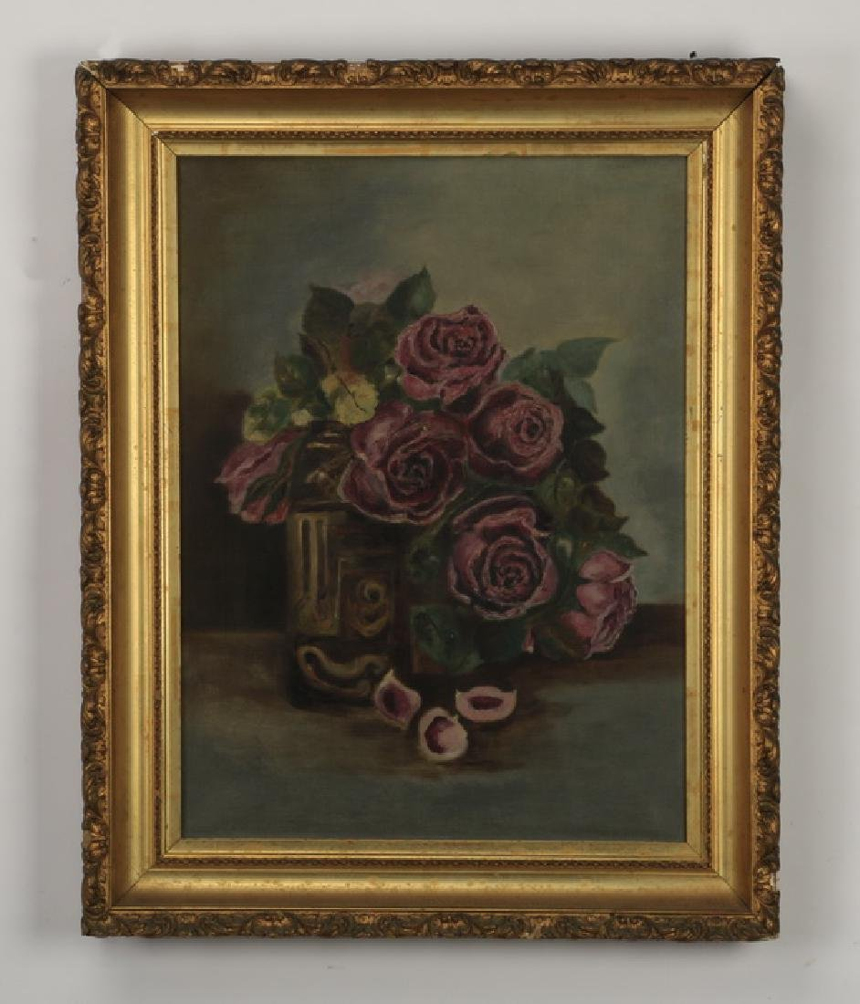Early 20th c. O/c floral still life of magenta roses
