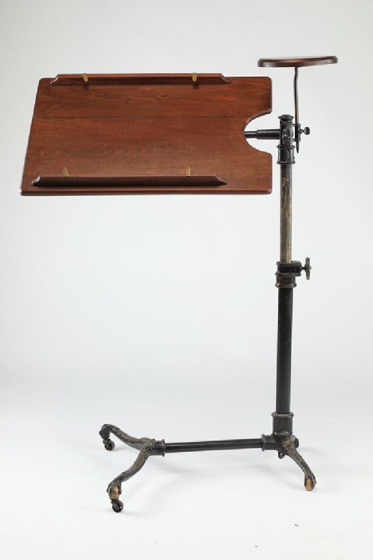 "19th c. oak & cast iron drafting table, 44""h"