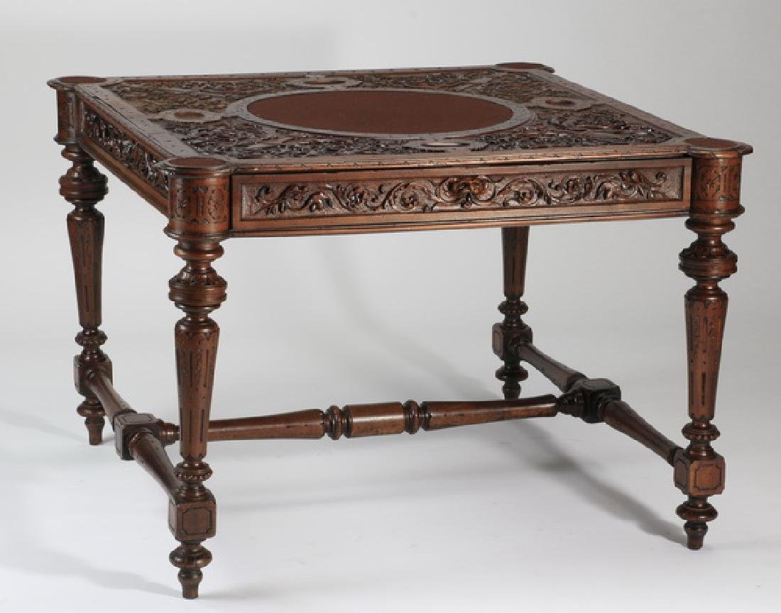 "19th c. French carved walnut games table, 46""w"