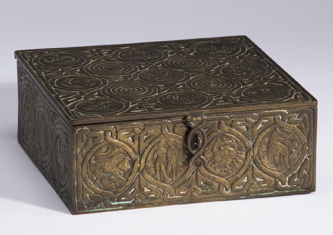 Patinated bronze desk box, marked Tiffany Studios