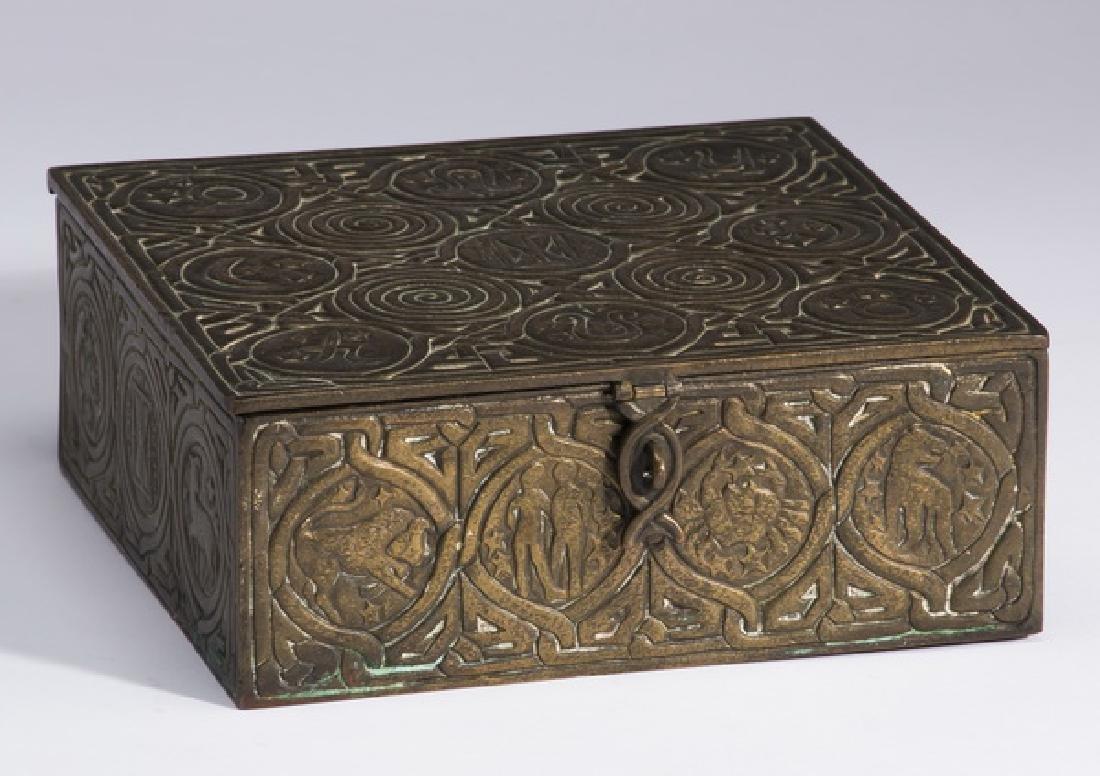 Patinated bronze desk box, marked Tiffany Studios