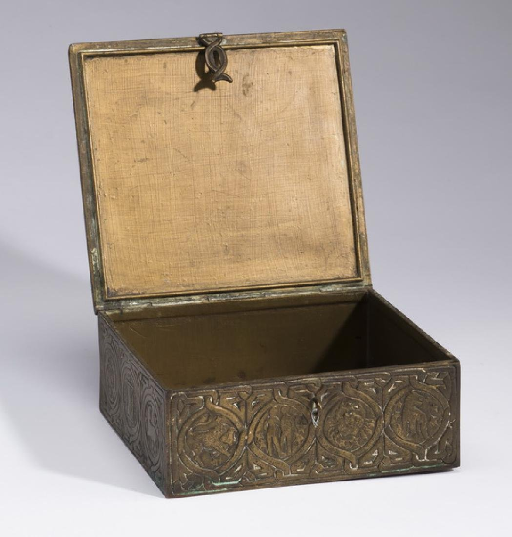 Patinated bronze desk box, marked Tiffany Studios - 2