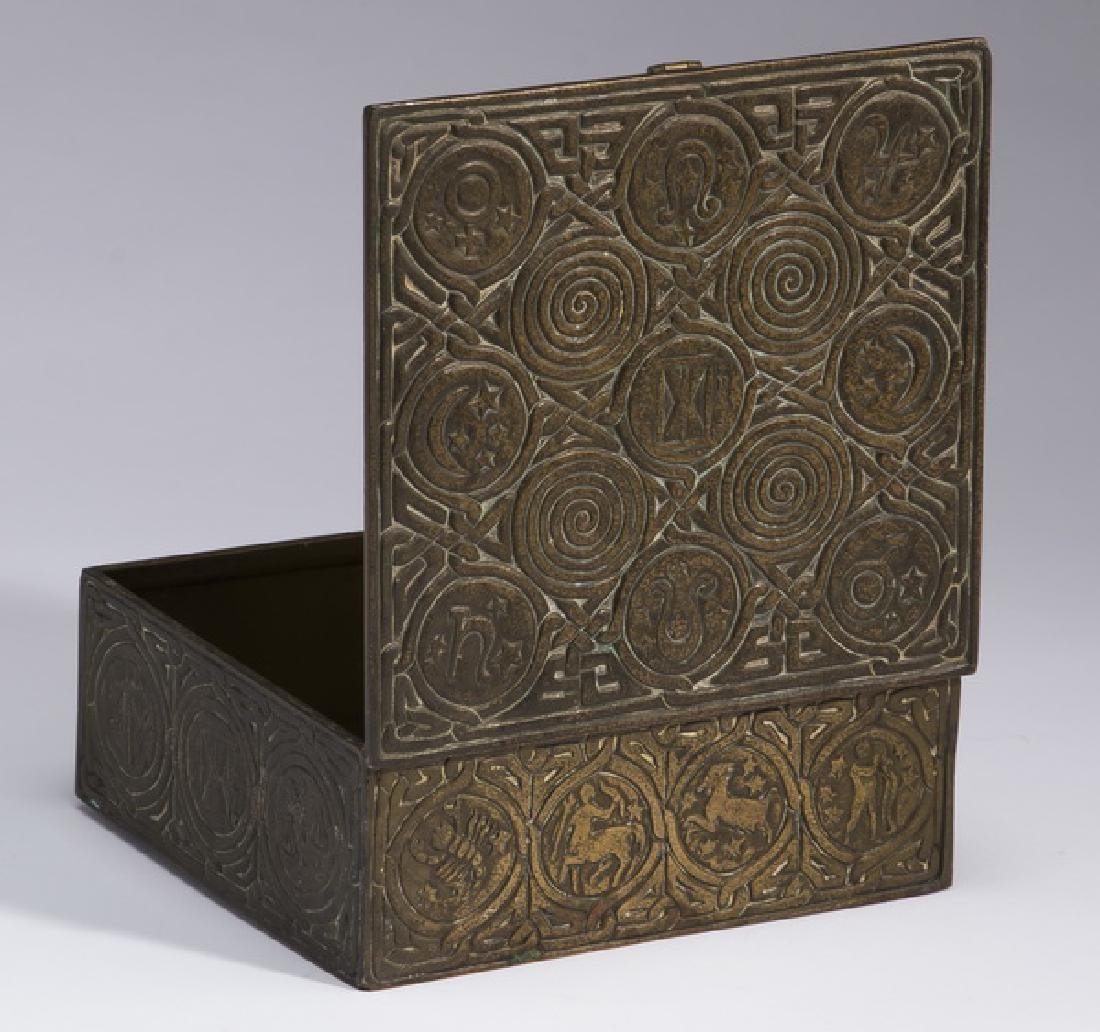 Patinated bronze desk box, marked Tiffany Studios - 3