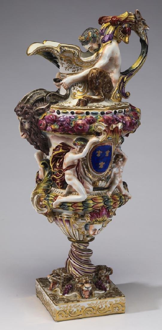 "19th c. Capodimonte porcelain figural ewer, 18""h"